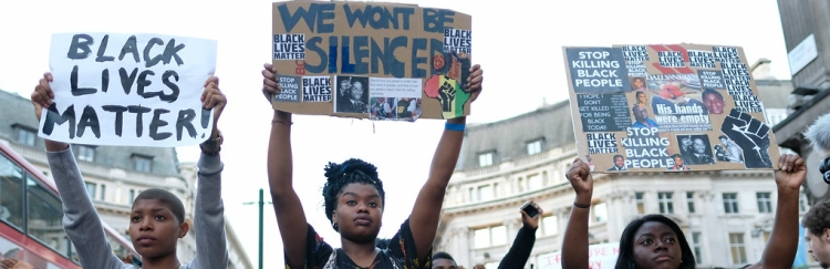 """""""Black Lives Matter - We Won't Be Silenced - London's Oxford Circus - 8 July 2016."""" by alisdare1 is licensed under CC BY-NC 2.0"""